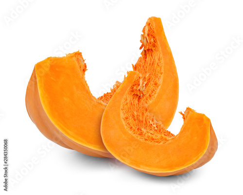 Obraz na płótnie Slices of pumpkin isolated on white background
