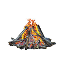 Forest Bonfire, Isolated On Wh...