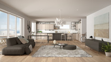 Penthouse Living Room And Kitchen Interior Design, Lounge With Sofa And Carpet, Dining Table, Island With Stools, Parquet. Modern Minimalist White And Gray Architecture Concept Idea