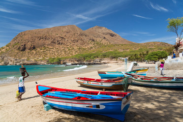 Fishing boats on beach, Tarrafal, Santiago Island, Cape Verde