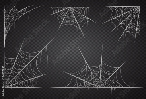 Cobweb set, isolated on black transparent background Canvas Print