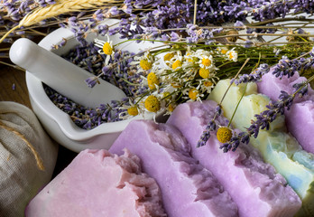 Panel Szklany Lawenda Handmade Soap with dried lavender and camomile flowers and herbs.