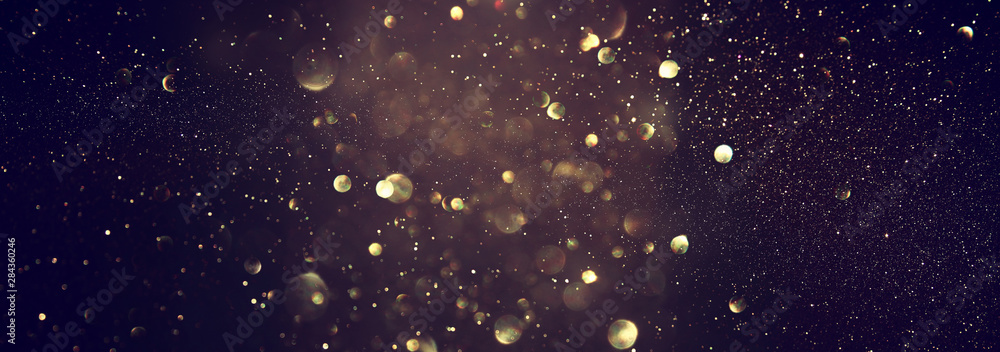 Fototapety, obrazy: blackground of abstract glitter lights. blue, gold and black. de focused. banner