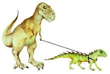 Dinosaur Tyrannosaurus Rex Walking A Small Dinosaur On A Leash, Hand Drawn Watercolor.