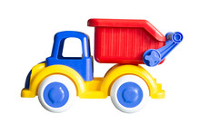 Colorful Toy Dump Truck Isolated On White Background