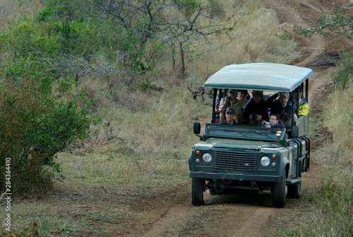Africa, South Africa, KwaZulu Natal, Hluhluwe, tourists on safari at Zulu Nyala Game Reserve.