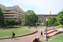 RALEIGH,NC/USA - 4-25-2019: Students Walking On The Campus Of North Carolina State University In Raleigh