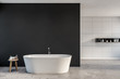 canvas print picture Gray and white tile bathroom with bathtub