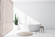 canvas print picture White and light wood bathroom interior with tub