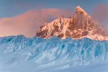 UK Territory, South Georgia Island, Trollhul. View Of Graae Glacier And Mount Sabatier.