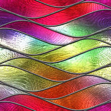 Stained Glass Seamless Texture With Waves Pattern For Window, Colored Glass,  3d Illustration