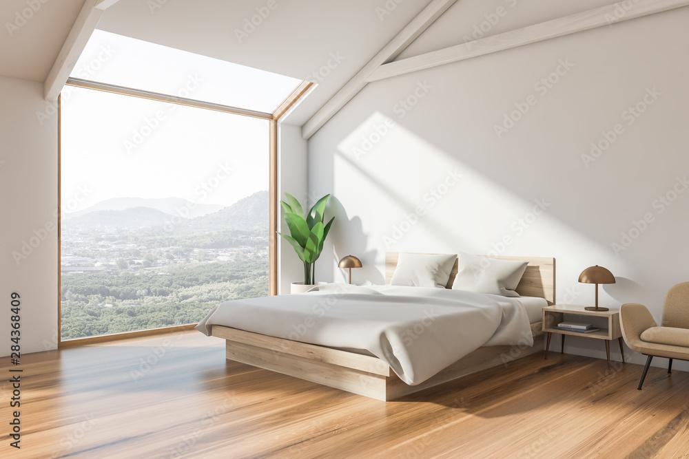 Fototapety, obrazy: Corner of white attic bedroom