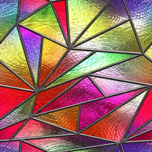 Stained Glass Seamless Texture With Triangle Pattern For Window, Colored Glass,  3d Illustration