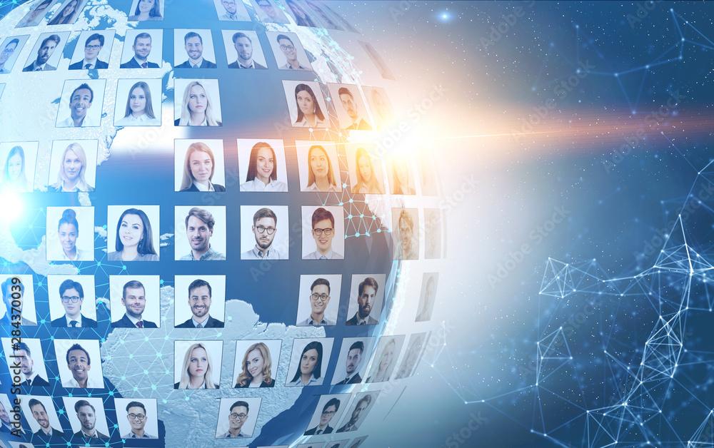 Fototapeta Social media concept in global world