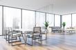 Leinwanddruck Bild - Panoramic meeting room, white chairs and lounge