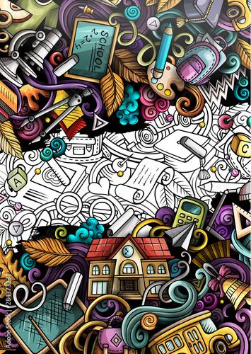 Spoed Foto op Canvas Graffiti Cartoon cute colorful hand drawn doodles School background