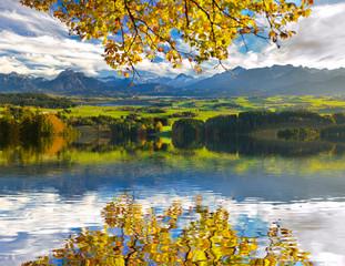 panoramic landscape in Bavaria at autumn