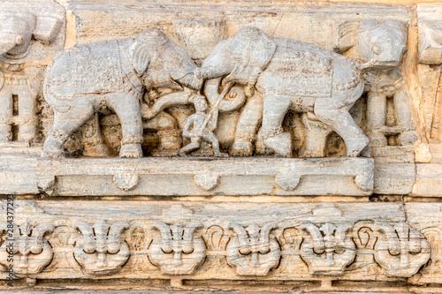 Photo Bas Relief. Jagdish Temple. Udaipur Rajasthan. India.