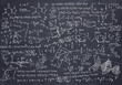 canvas print picture - Black chalkboard with Maths and science sketches