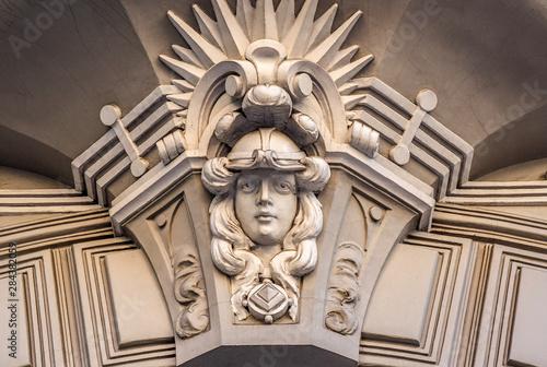 Fototapeta Fragment with mascaron of Jugendstil facade obraz