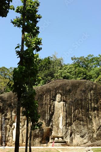 Sri Lanka, Ella, Dhowa rock Temple, carved rock Buddha