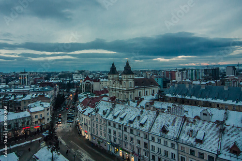 Photo sur Toile Europe de l Est Winter sunset in Ivano-Frankivsk