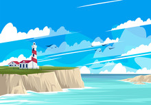 Vector Illustration Of The Lighthouse Landscape With Buildings On The Rocky Shore, The Sea Shore With Rocks, Panorama Of The Sea Horizon