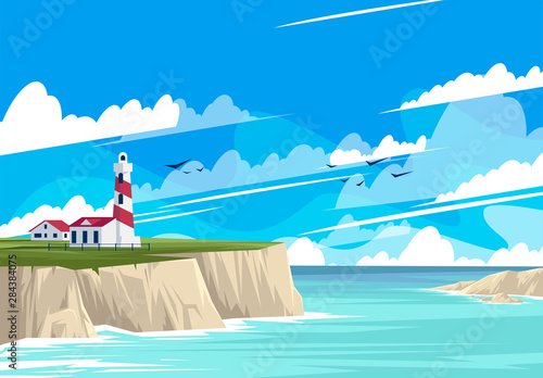 Foto auf AluDibond Turkis vector illustration of the lighthouse landscape with buildings on the rocky shore, the sea shore with rocks, panorama of the sea horizon
