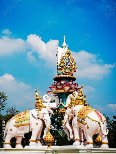 Thailand, Bangkok, Elephant statue at Pom Pa Dad junction outside Wat Phra Kaew, Canvas Print