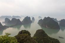 View Over Misty Ha Long Bay, North Vietnam