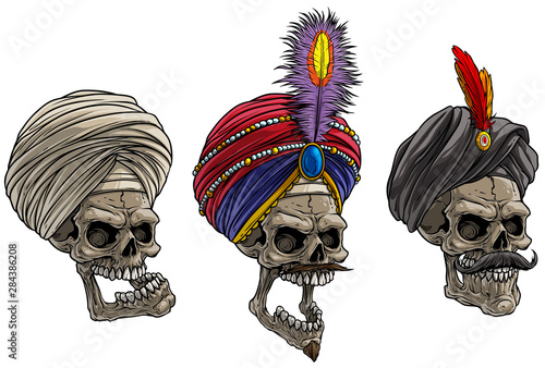 Cartoon detailed realistic colorful scary indian human skulls in traditional turban with feathers Wallpaper Mural