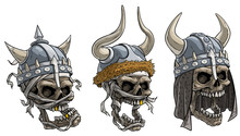 Cartoon Detailed Realistic Colorful Scary Viking Warrior Skulls In Metal Helmet With Horns, Fur, And Bandage. Isolated On White Background. Vector Icon Set.