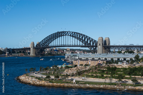 Australia, Sydney, waterfront view of Harbour Bridge.
