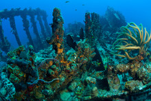 Wreck Of The RMS Rhone, Iron-hulled Steam Sailing Vessel, Sank After The Great Hurricane Of 1867 Off The Coast Of Salt Island, Near Tortola, British Virgin Islands, Caribbean