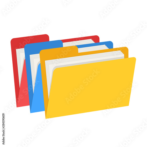 Fototapeta Color web computer folders with documents for design on white, stock vector illu