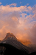 Canada, British Columbia, Yoho National Park. Sunset colors clouds over Cathedral Mountain.