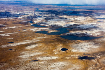 Canada, Quebec. Aerial view of the Nunavik region of northern Quebec.