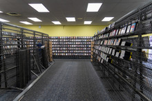 Empty Shelves Inside Of A Blockbuster Video Store In Its Final Days Of Liquidation Sale