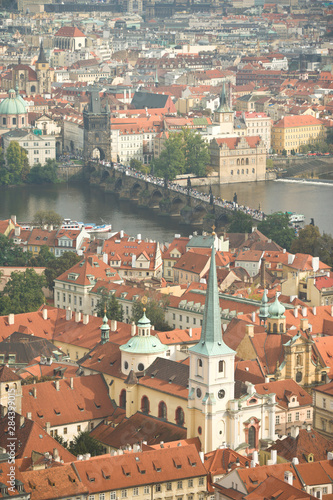 Spoed Foto op Canvas Krakau CZECH REPUBLIC, Prague. View of Prague and the Charles Bridge from the Bell Tower, St. Vitus Cathedral.
