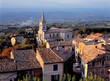 Leinwandbild Motiv France, Bonnieux. Sunset light falls on the tile roofs of Bonnieux, Provence, France.