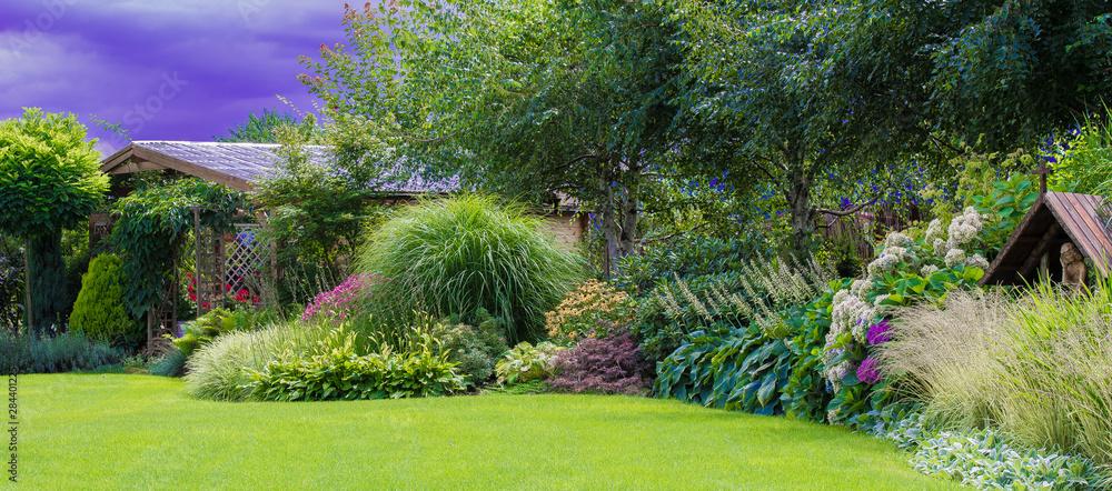 Fototapeta Zielony trawnik w pięknym ogrodzie
