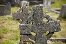 Ireland, County Mayo, Achill Island. Celtic Gravestone Crosses With Heart Carving At Kildownet Cemetery.