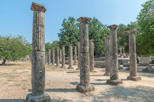 Ancient Greek Ruins, Palaistra, Olympia, Greece, Europe