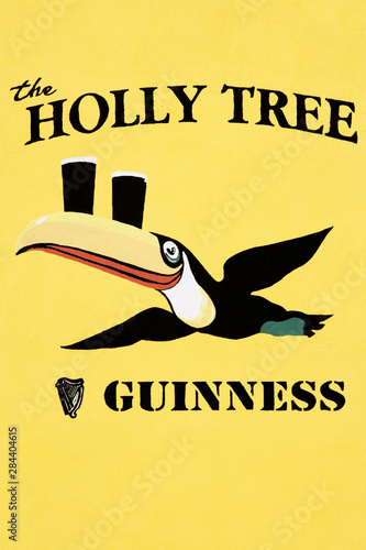 Ireland, Roscommon. Close-up of sign on Holly Tree pub. Wallpaper Mural