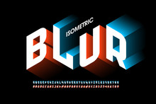 Isometric 3d Font Design With Blur Effect, Three-dimensional Alphabet Letters And Numbers