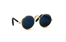 Round Sunglasses With Blue Glass Isolated On White Background