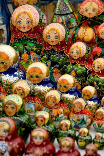 Foto op Canvas Moskou Russia, Moscow. Typical Russian handicrafts, matryoshka dolls.