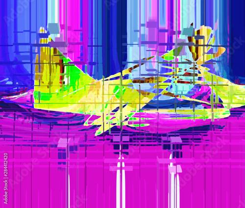 Poster de jardin Oiseaux en cage Abstract design with art and texture elements