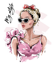 Hand Drawn Beautiful Young Woman In Sunglasses. Stylish Girl With Bow On Her Head. Fashion Woman Look. Sketch. Vector Illustration.