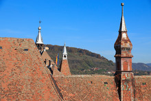 Romania, Mures County, Sighisoara, Red-tiled Rooftops.
